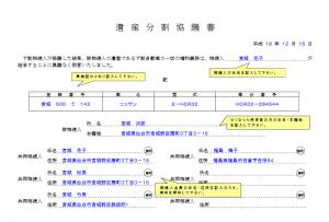 遺産分割協議書(記入例)